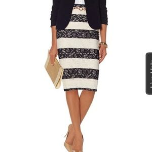 The Limited Black Cream Lace Striped Pencil Skirt